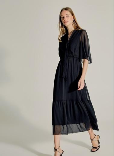 NGSTYLE Fular Detaylı Kruvaze Elbise Siyah